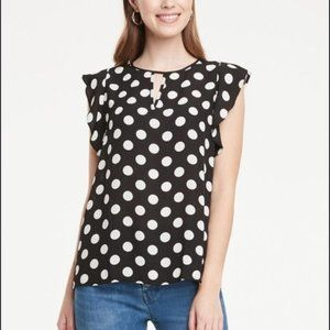 *NWT* Ann Taylor Factory Dotted Flutter Sleeve Top